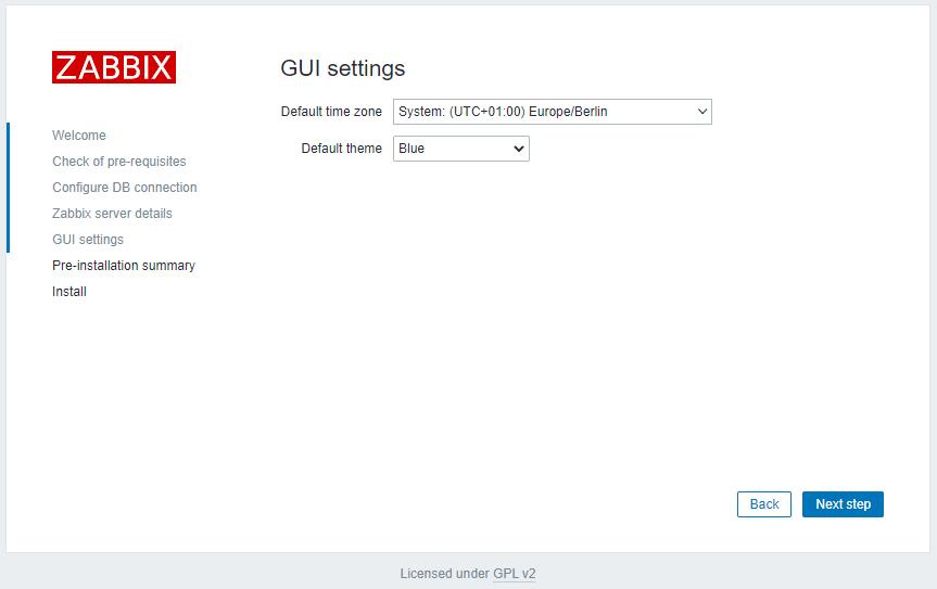 Zabbix 5.2 - Install GUI Settings