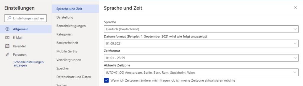 Outlook App OWA - Allgmein - Sprache und Zeitzone