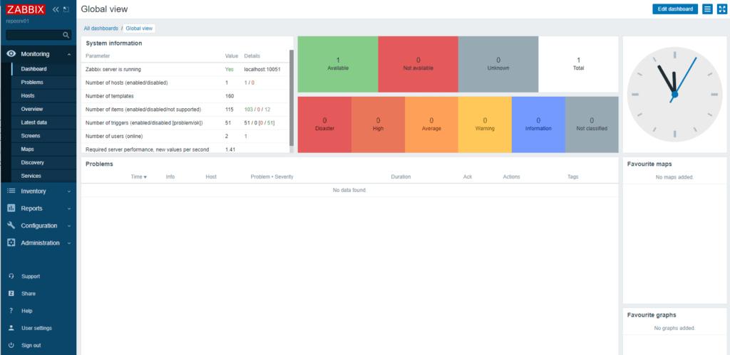 Zabbix 5.2 - Dashboard