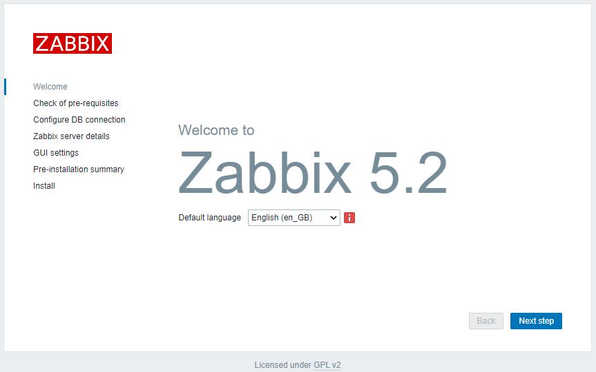 Zabbix 5.2 - Install Sprache