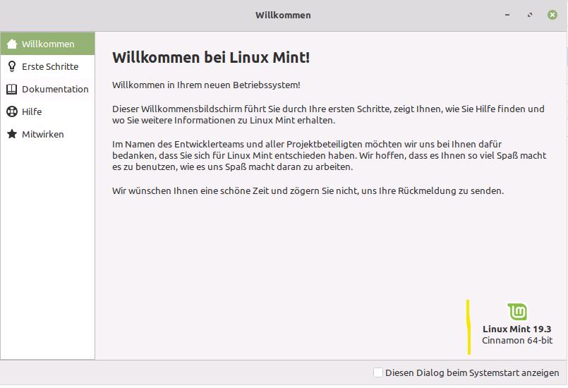 Linux Mint Willkommen 19.3 Tricia