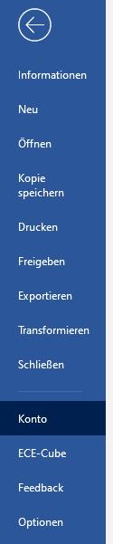 Office Online - Word Menü - Konto