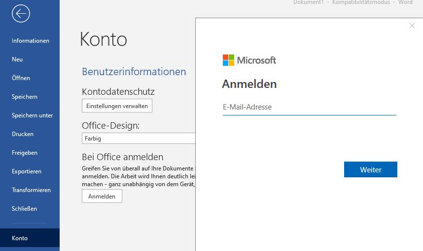 Office Online - Word O365 Anmeldung