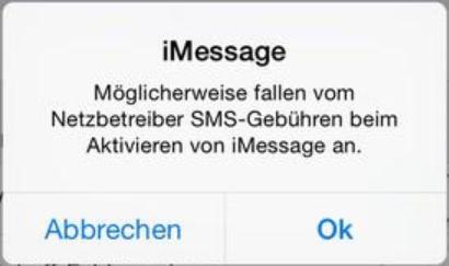 iPhone iMessage Gebühren