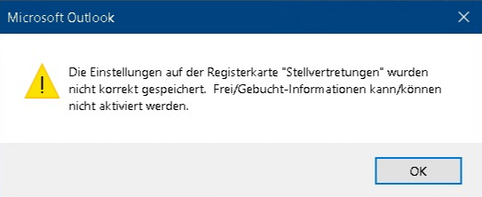 Outlook Error Free Busy