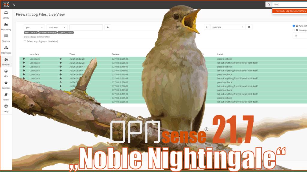 OPNsense 21.7 Noble NIghtingale